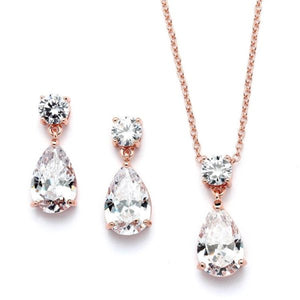 Rose Gold Cubic Zirconia Teardrop Necklace Set by the ring madam mar4172S-RG-