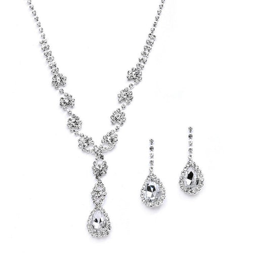 Rhinestone Pear Shape Pendant Necklace and Earring Set by the ring madam mar4231S-