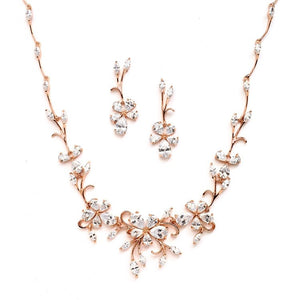 Rose Gold Finish Cubic Zirconia Vine Necklace and Earrings Set by the ring madam mar4233S-RG-