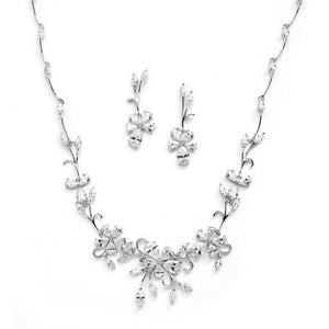 Rose Gold Finish Cubic Zirconia Vine Necklace and Earrings Set