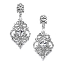 Load image into Gallery viewer, Chandelier Victorian Scrolls Cubic Zirconia Drop Earrings in  2 Finishes