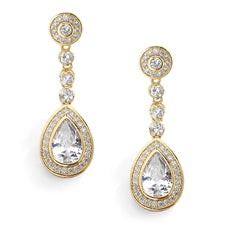 Clip CZ Framed Pear Shape Drop Bridal Earrings in 3 Finishes by the ring madam