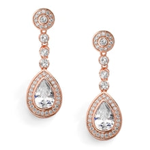 Load image into Gallery viewer, Clip CZ Framed Pear Shape Drop Bridal Earrings in 3 Finishes by the ring madam