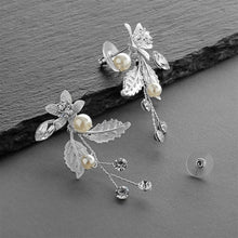 Load image into Gallery viewer, Matte Silver Leaves and Ivory Pearls Jeweled Earrings with Crystal Gems by the ring madam