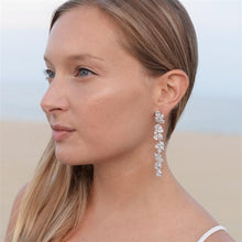 Load image into Gallery viewer, Cubic Zirconia Long Statement Cluster Dangle Earrings by the ring madam