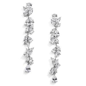 Cubic Zirconia Long Statement Cluster Dangle Earrings by the ring madam
