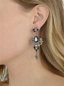 Art Nouveau Cubic Zirconia Bridal Earrings in 3 Stone Colors by the ring madam