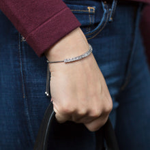 Load image into Gallery viewer, Sterling Silver with Princess Cut CZs Friendship Bolo Bracelet by the ring madam mma23508