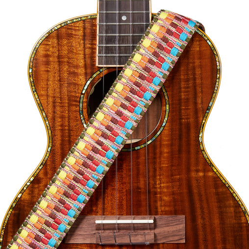 Amumu Cotton Woven Ukulele Strap Leather Ends for Soprano Concert Tenor Baritone Ukuleles