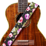 Amumu Denim Peony Ukulele Strap Leather Ends for Soprano Concert Tenor Baritone Ukuleles