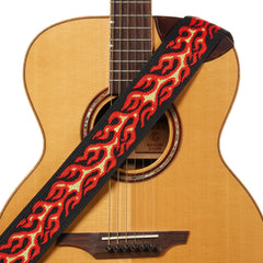 Amumu Flame Jacquard Woven Guitar Strap Red Polyester