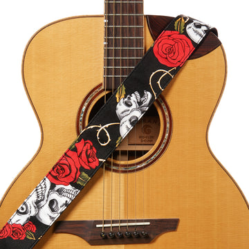 Amumu Skull Rose Guitar Strap Red Denim for Acoustic/ Electric Guitars, Bass