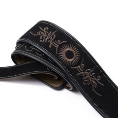 Amumu Tribal Embroidered Guitar Strap Black Premium Suede Leather