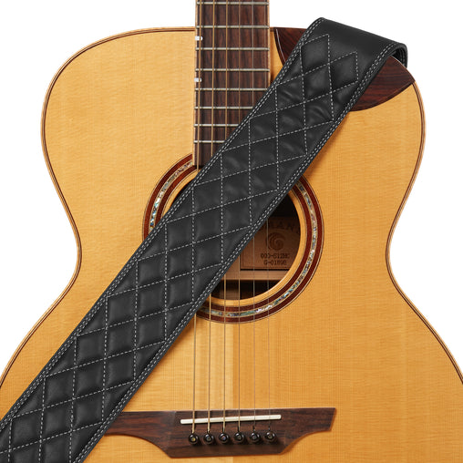 Amumu Diamond Guitar Strap Black Premium Leather