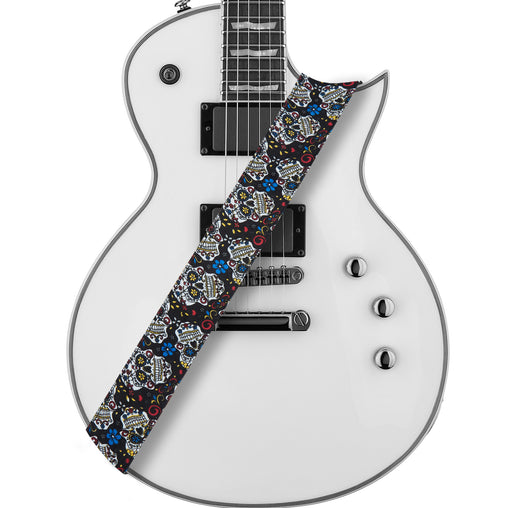 Amumu Sugar Skull Guitar Strap Multi-Color Denim