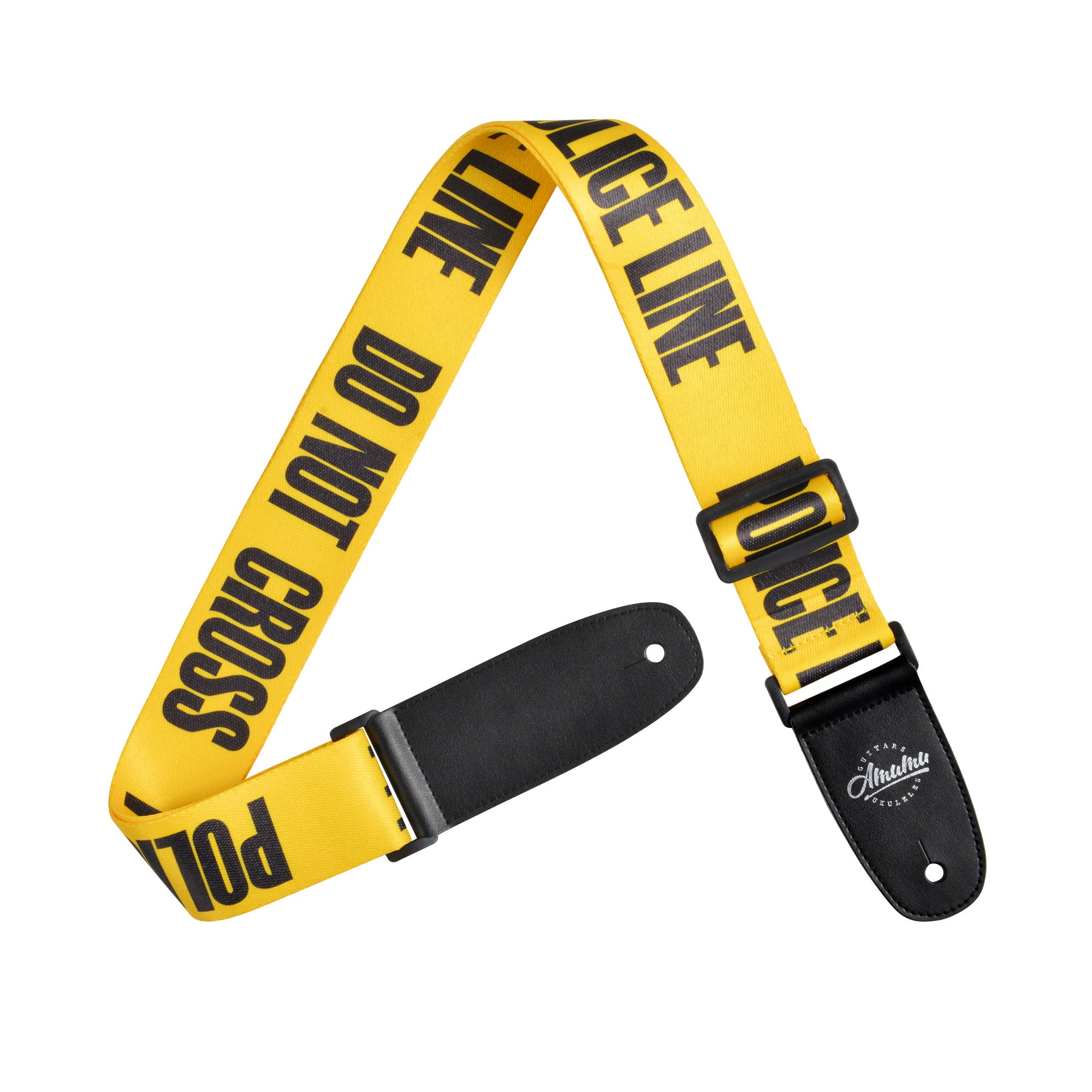 Amumu Police Line Guitar Strap Yellow Polyester Cotton
