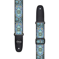 Amumu Hootenanny Embroidery Guitar Strap Blue Cotton