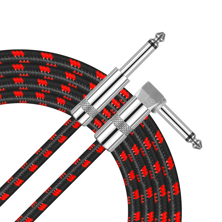 Amumu SW30 Standard Series Woven Instrument Cable Straight to Right Angle Red (10-16 Ft.)