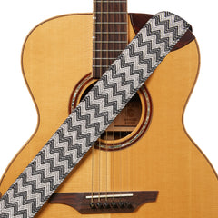 Amumu Chevron Jacquard Woven Guitar Strap Cotton Black White