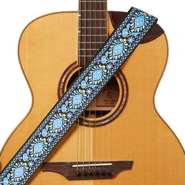 Amumu Hippie Embroidery Guitar Strap Blue Cotton