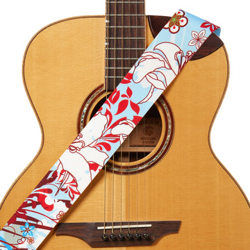 Amumu Guitar Strap White Lily Flower Light Blue Polyester Cotton