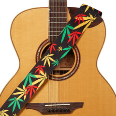Amumu Hemp Leaf Guitar Strap Jamaica Rasta Polyester Cotton