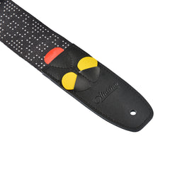 Amumu White Dots Guitar Strap Black Polyester Cotton