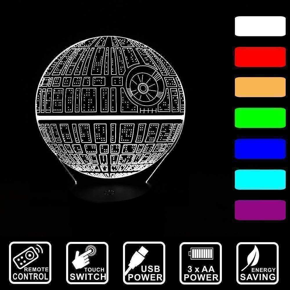 3D Death Star LED Illusion Lamp - Ace Rings