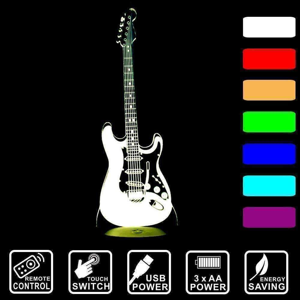 3D Guitar Illusion LED Lamp - Ace Rings