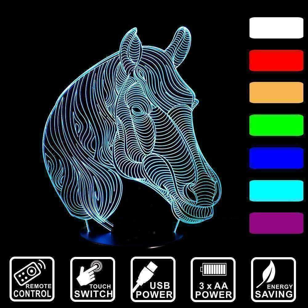 3D Horse Illusion LED Lamp - Ace Rings
