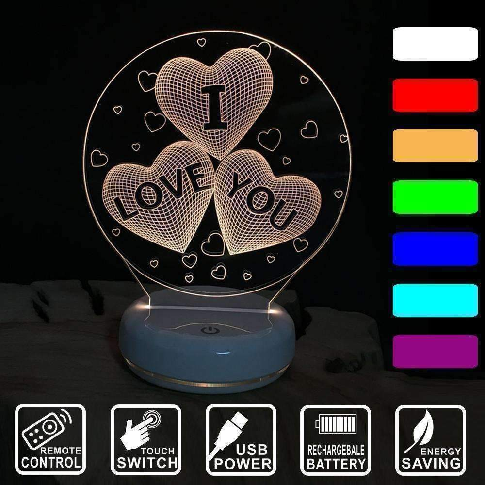 3D I Love You Illusion LED Lamp - Ace Rings