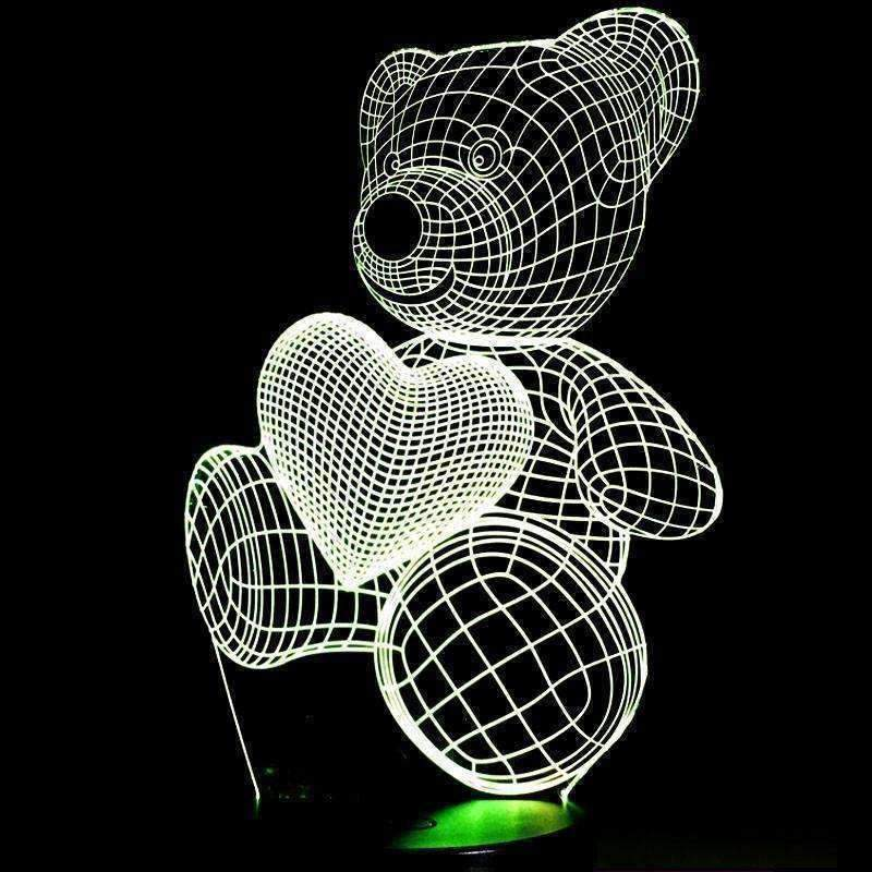 3D Love Bear Illusion LED Lamp - Ace Rings