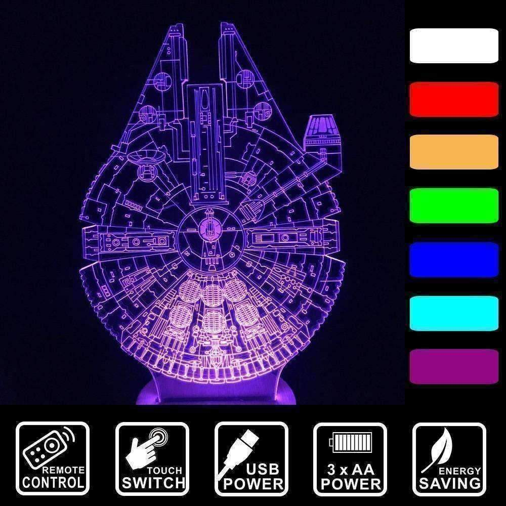 3D Millenium Falcon LED Illusion Lamp - Ace Rings