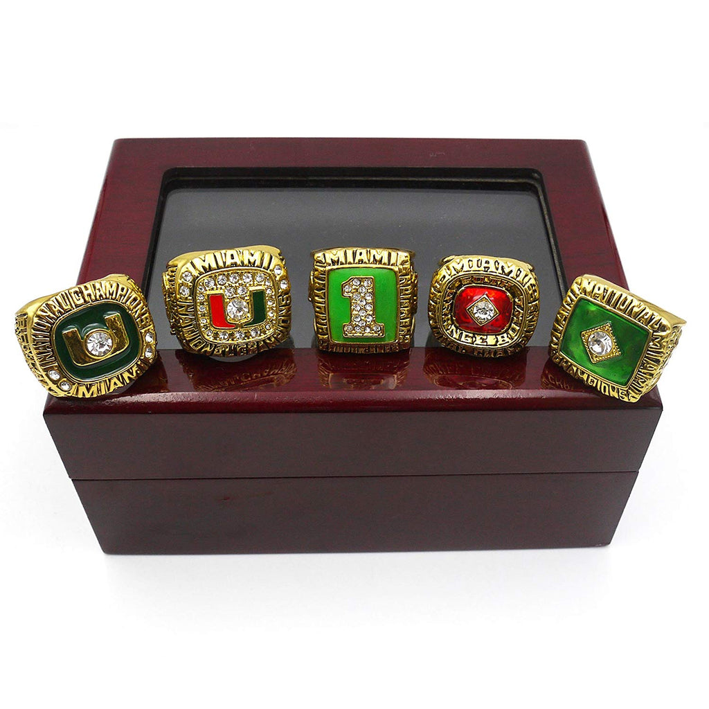 Miami Hurricanes NCAA Championship Ring Set (1983, 1987, 1989, 1991, 2001) - Ace Rings