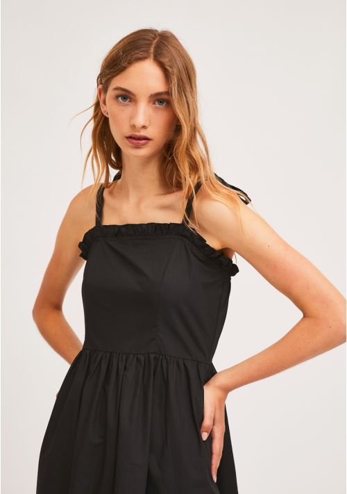 Black Midi Ruffle Dress