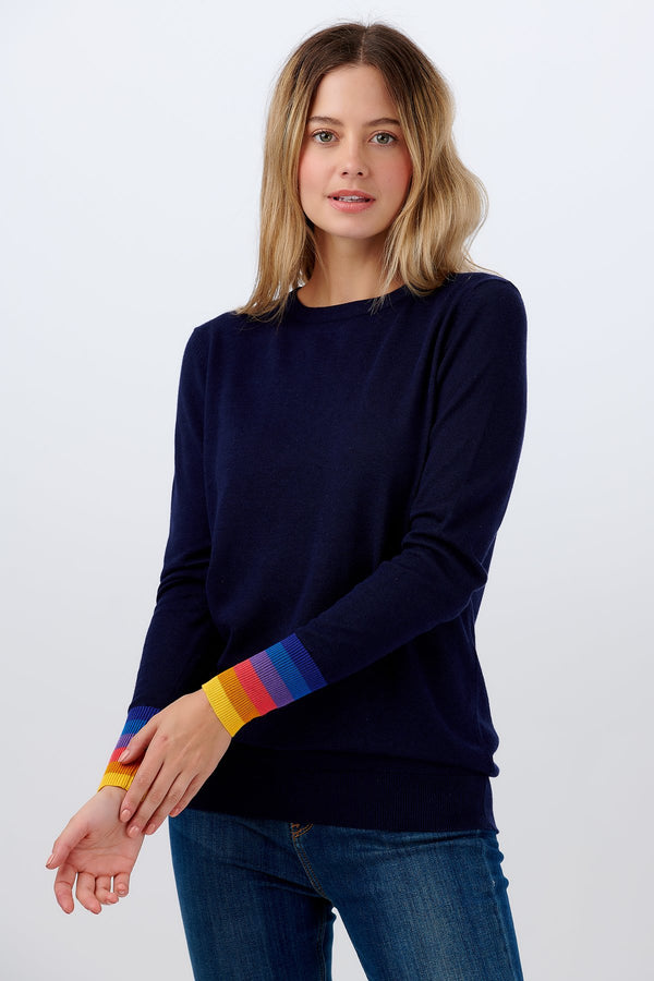 Rita Jumper - Navy Sunset Stripe Cuff