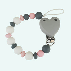 Attache tétine rose/gris