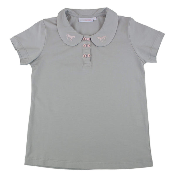 Polo gris manches courtes -  EQUINANA - enfant - equitation - cheval