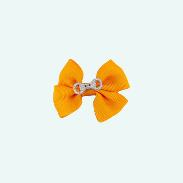 Barrette nœud orange