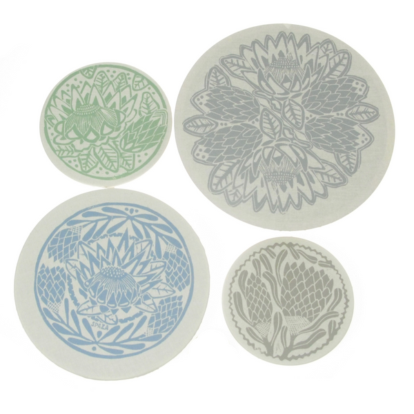 Dish and Bowl Cover Set of 4 Protea Print | covers everything