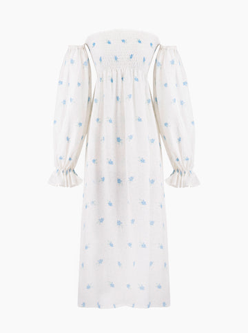 Sleeper Atlanta shirred linen midi dress in Linum Floral