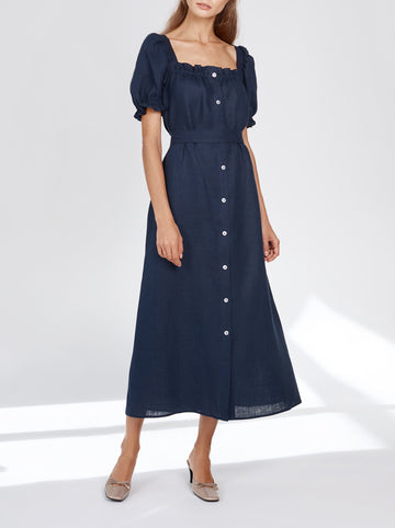Brigitte belted linen maxi dress - Navy