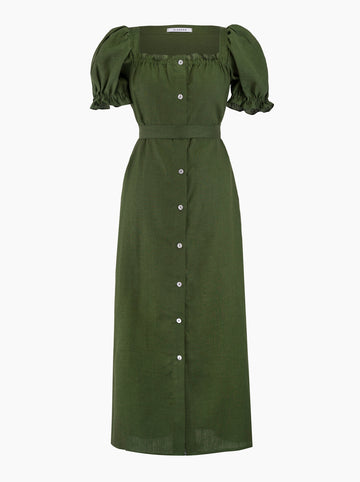 Sleeper Brigitte belted linen maxi dress in Green