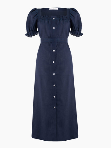 Sleeper Brigitte belted linen maxi dress in Navy