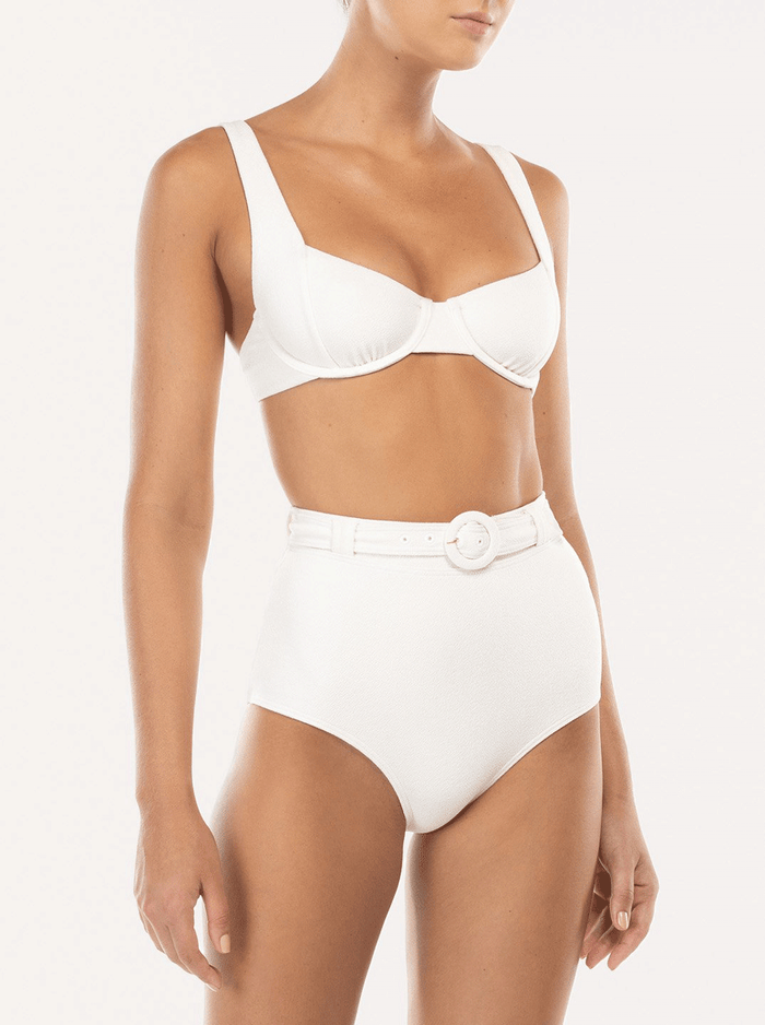 Peony Swim Cream underwired balconette bikini top