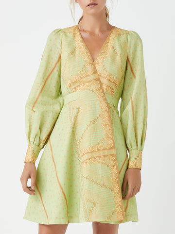 Dolan printed wrap dress - Pistachio
