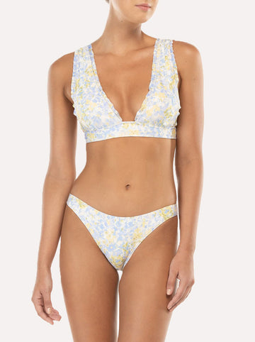 Forget Me Not floral-print high triangle bikini top