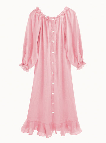 Sleeper Judas Tree ruffled linen loungewear dress in Pink