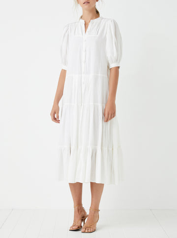 Fiji tiered cotton midi dress - Blanc