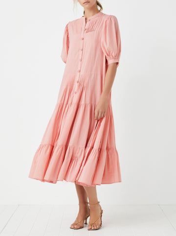 Fiji tiered cotton midi dress - Rose